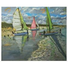 Poster Print Wall Art entitled Three Sailboats, Bray Dunes, France (oil on