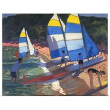 Poster Print Wall Art entitled Sailboats, South of France, 1995 (oil on canvas)