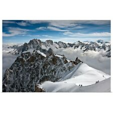 Poster Print Wall Art entitled View of Mont Blanc massif in French Alps, with