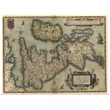 Poster Print Wall Art entitled 16th century map of the British Isles