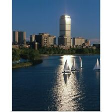 Poster Print Wall Art entitled Boston skyline with sailboats in the harbor,