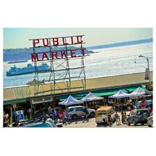 Poster Print Wall Art entitled People in a public market, Pike Place Market,