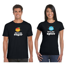 Giftsmate Sugar and Spice Men Women Cotton Couple Tshirts, Love Gifts
