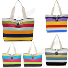 Lady Women Colored Stripes Canvas Handbag Shopping Hobo Shoulder Bag Tote Purse