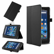 Black Smart Leather Case Cover for 2015 Amazon Kindle Fire 7'' HD 8'' 10.1''