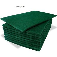 Green Pack Of 10 Heavy Duty Green Kitchen Catering Sponge Scourer Pads Cleaning