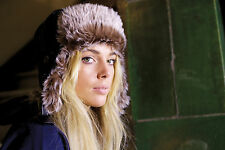Womens Mens Microfleece Fully Lined Ear Protection Warm Faux Fur Hat S, M,L