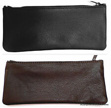 Leather Pipe Tobacco Pouch Plastic Lined Zipper Case NWOT Brown or Black MadeUSA