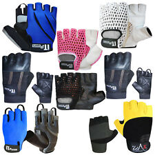 Leather Cycling Gloves Padded Fingerless Cycling / Cycle Mitts Gloves UNISEX