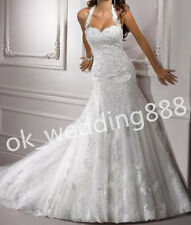 Halter Neck Sweetheart Charming Mermaid Wedding Dress Bridal Gown Custom Hot New