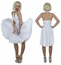 Marilyn Costume Donna Hollywood Abito bianco Festa a tema Carnevale NUOVO