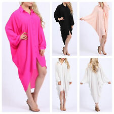 WOMENS LADIES LONG SLEEVE BAGGY LOOK CASUAL BUTTON COLLARED BATWING SHIRT DRESS