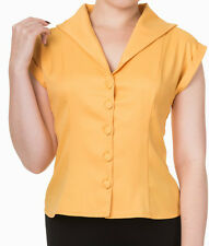 Banned Apparel 50s Rockabilly Vintage Blouse Shirt Button Top Pinup 8-16 Mustard