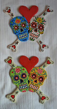 Gothic Skull & Cross Bones Wall Hanging Decoration red heart wooden door pagan