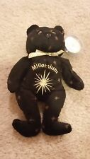 NWT Celebrity Bears Millennium 2000 Gold & Black Embroidered Bean Bag Plush Toy