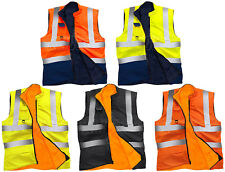 Hi Vis Visibility Reversible Fleece Lined Bodywarmer | Gilet | Security Vest