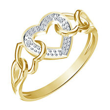 14K Yellow Gold Plated 925 Silver White Genuine Diamond Lovely Triple Heart Ring