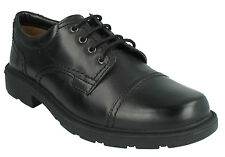 £39.99 SALE MENS CLARKS LAIR CAP LACE UP BLACK LEATHER TOE CAP CASUAL SHOES