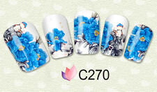 C FIORI BLU pellicola unghie Stickers BLUE FLOWERS nail art water decals PATCHES
