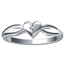 Sterling 925 Silver Heart Shape Engagement Ring With Natural Diamond