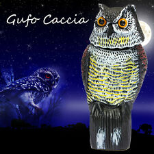 Large Realistic Owl Decoy Rotating Head Weed Pest Control Crow Scarer UK Seller
