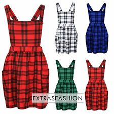 LADIES WOMEN PINAFORE DUNGAREE CROSS BACK DUNGAREES MINI SKATER DRESS PLAYSUIT