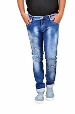 Mens Narrow fit Mid Blue Wash Distressed Style Stretchable Fashion Denim Jeans