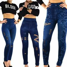Damen Leggings Jeans Optik Hose Leggins Treggings Damenhose Jeggings  S/M L/XL