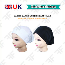 Black and White Large Under Scarf Hijab Tube Bone Bonnet Chemo Hat