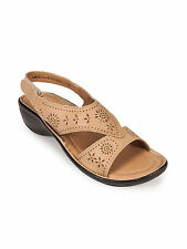 Khadim's Womens Beige Strap-on Wedge Sandal