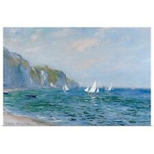 Poster Print Wall Art entitled Cliffs and Sailboats at Pourville (oil on canvas)