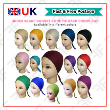 Under Scarf Bonnet Bone Tie Back Chemo Cap Under Hijab Head Scarf Hair loss Hat