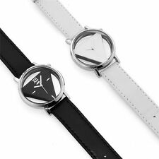 Stainless Steel Sport Analog Quartz PU Leather Band Women Mens Wrist Watch