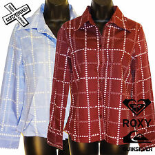 QUIKSILVER ROXY 'AMOS & ANDY' LONG SLEEVE SHIRT RED BLUE UK 8 10 14 BNWT RRP £43