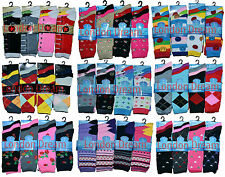 12x Pairs Ladies Women & Girls Fashion Design Color Socks Every Day Socks UK 4-6