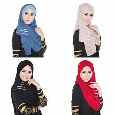 Women Amira Islamic Chiffon Long Maxi Scarf Muslim Hijab Wrap Shawl Headwear Hot