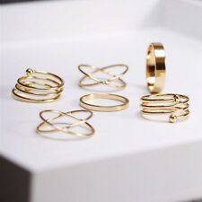 6 Pcs Ladies Vintage Punk Gold Knuckle Finger Ring Set Cross Plain Size K M P