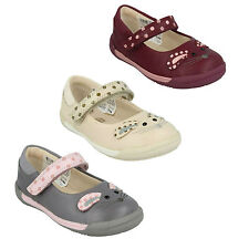IVA PIP INFANT GIRLS CLARKS LEATHER MARY JANE RIPTAPE MOUSE PRINT FIRST SHOES