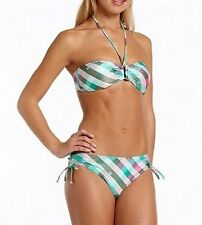 ONeill Check Bandeau Bikini in Green AOP