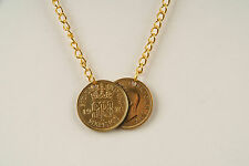 24ct Gold Plated Lucky Sixpence Necklace 1921-1946 - Holly Willoughby Style