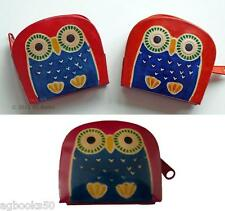 Owl Leather Zip Coin Purse Lady Girl Mum Gift Orange Pink or Red Animal Bird New