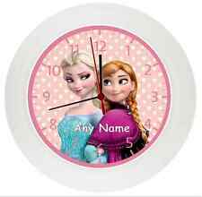 Personalised FROZEN*Wall Clock*Kids*Childrens*Bedroom Gift*Girls*Sisters*Elsa