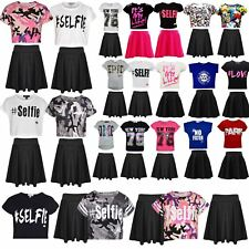 571c2ae5efb Kids Girls Comic Graffiti #Dab Floss #SELFIE Crop Top & Fashion Skater  Skirt Set