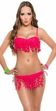 SEXY BIKINI RAPSBERRY FRINGES PUSH UP PADDED BALCONETTE BRA SWIMWEAR BEACH XS S