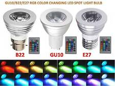 B22/GU10/E27 3W/5W 16 COLOR CHANGING DIMMABLE RGB LED SPOT LIGHT BULB HOME LAMP