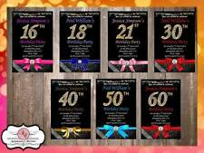 10 x Personalised 16th 18th 21st 30th 40th 50th 60th Birthday Party Invites