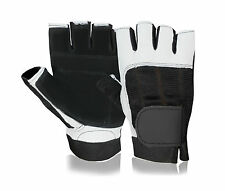 LEATHER WEIGHT LIFTING GLOVES HALF FINGERS GYM FITNESS BODYBUILDING GLOVE