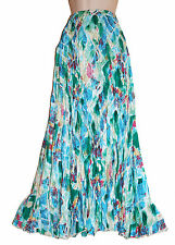 LADIES FREESIZE LONG MAXI CRINKLE ASYMETRICAL FULL CIRCULAR SKIRT SILK/VISCOSE