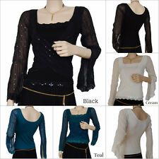 Womens Square Neck Wrap over Long Sleeve Hip Length Party Top TP2033 Free P&P