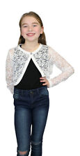 Girls childrens kids Lace bolero shrug cardigan diamond button  3-13 years